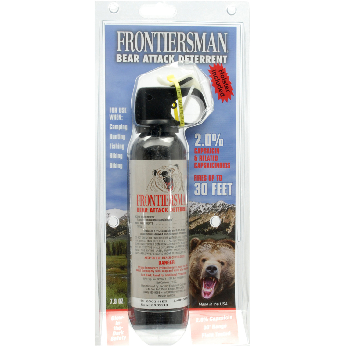 Bear Protection With Frontiersman Bear Spray: Sabre Frontiersman Bear Spray And Attack Deterrent 7.9 Oz