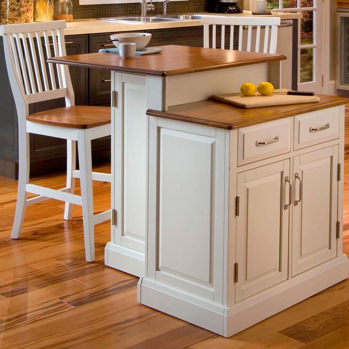 Home Styles Woodbridge Two Tier Island And 2 Stools