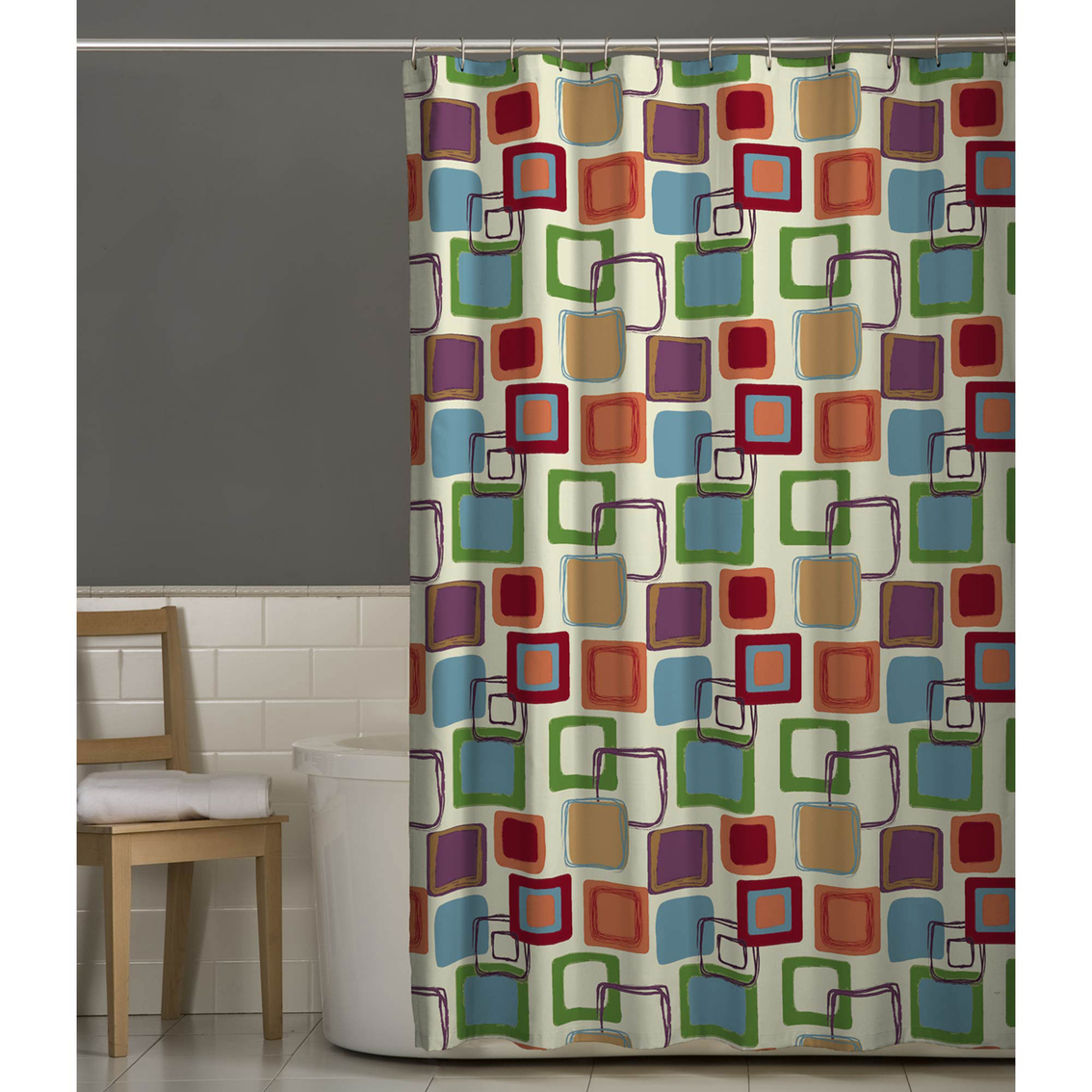 Maytex Squares Multicolor Fabric Shower Curtain | Shower Curtains ...