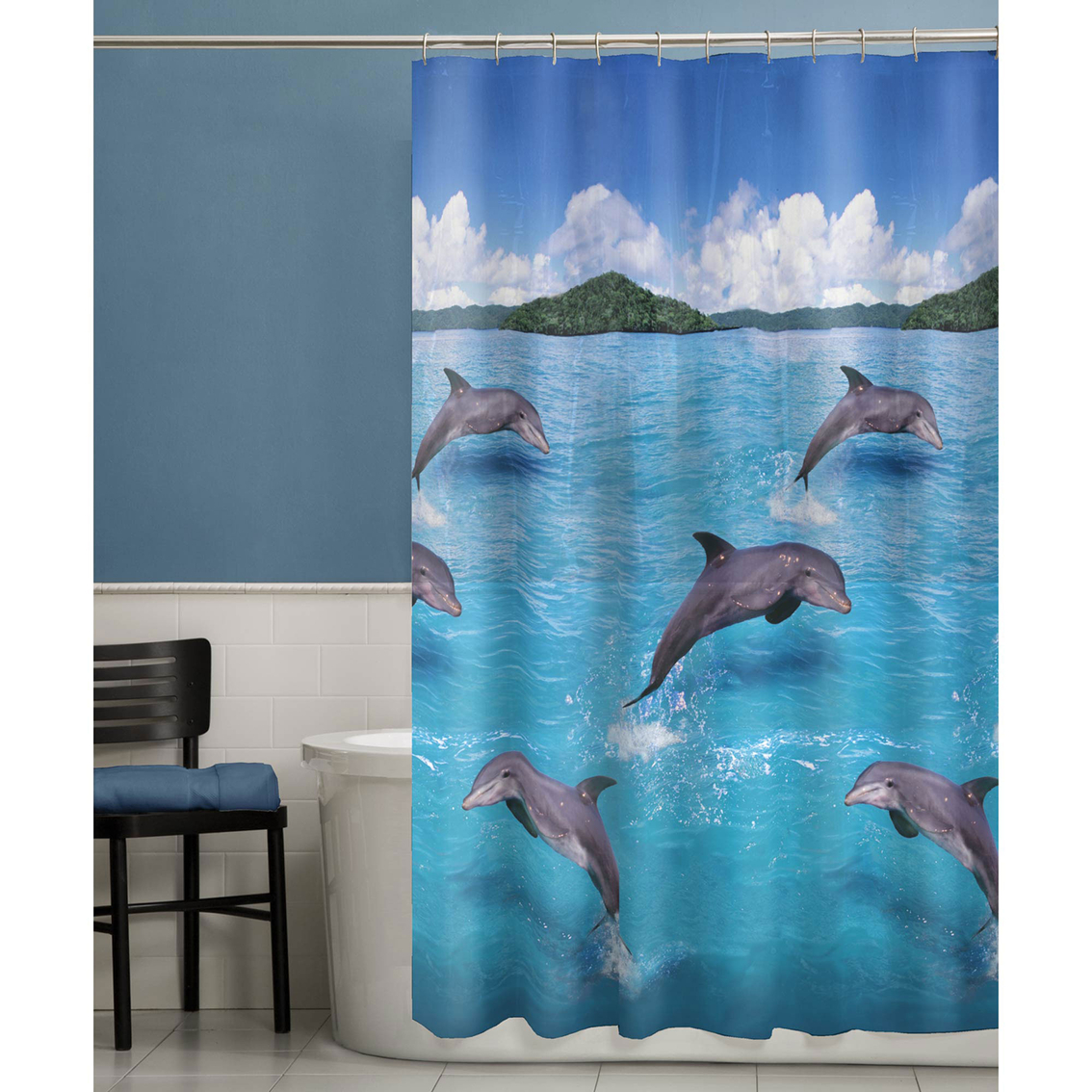 Maytex Splash Dolphins PEVA Shower Curtain