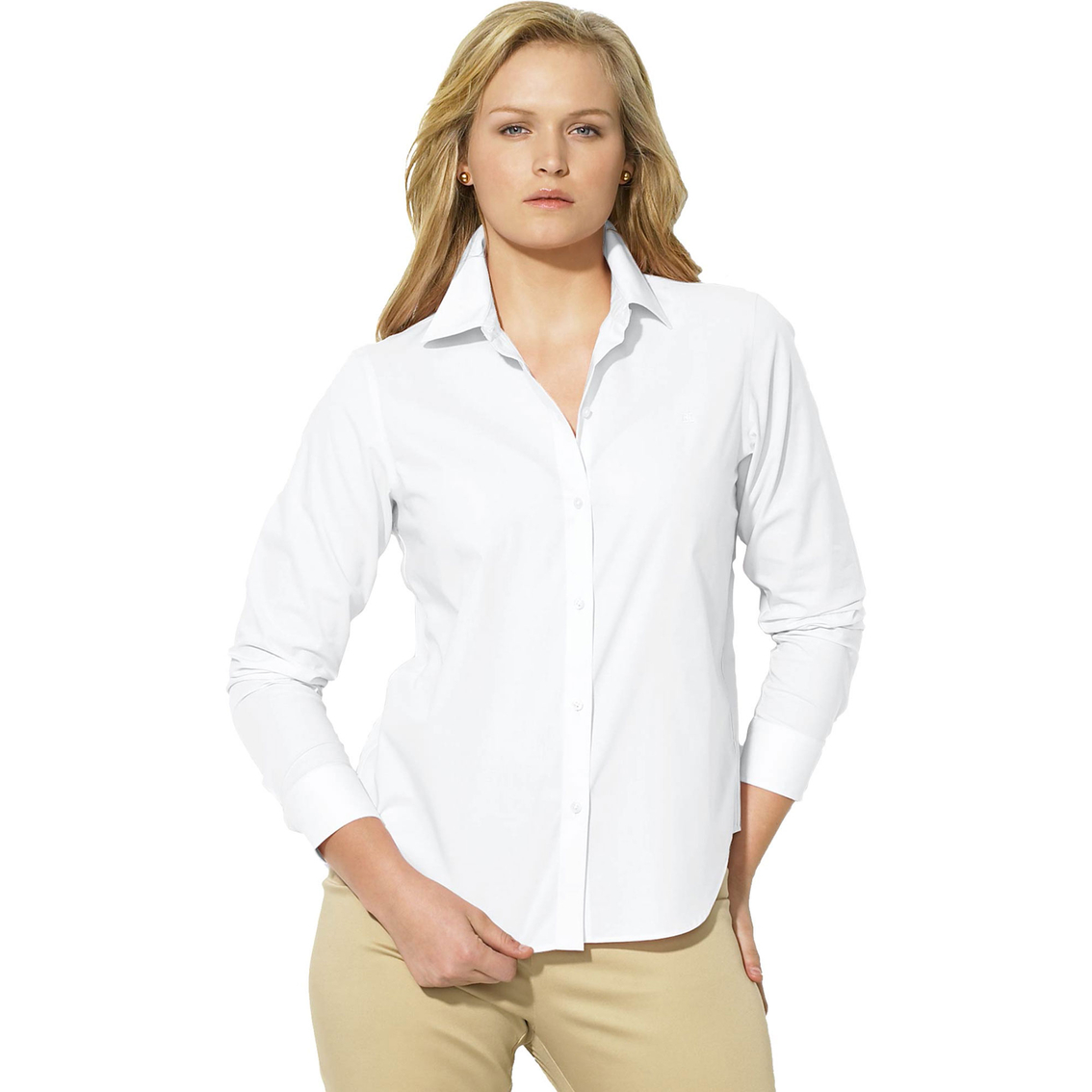 Lauren Ralph Lauren Plus Size Cotton Poplin Dress Shirt ...