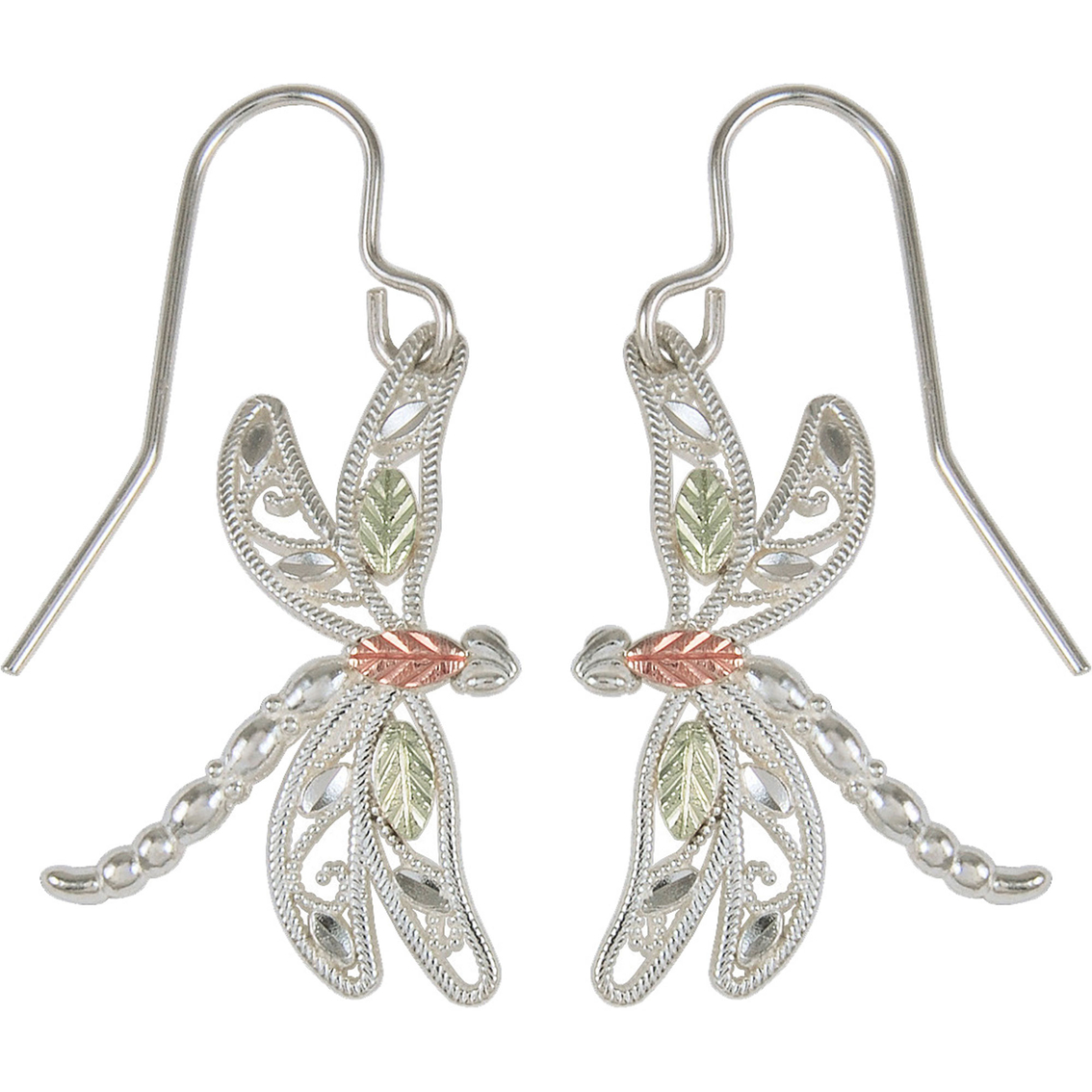 Black Hills Gold Sterling Silver And 12k Dragonfly Earrings