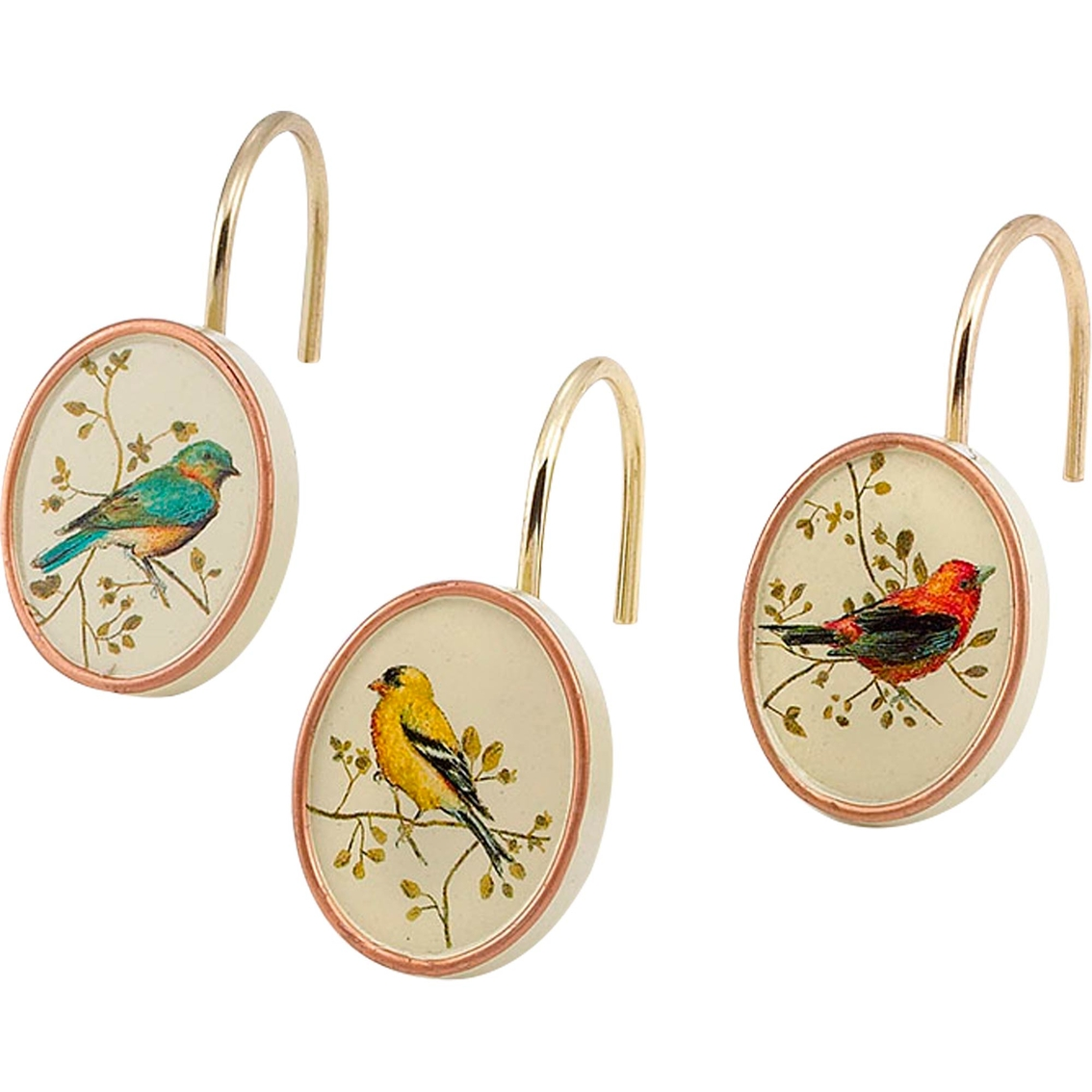 Avanti Gilded Birds 12 Pc Shower Curtain Hooks Set Shower