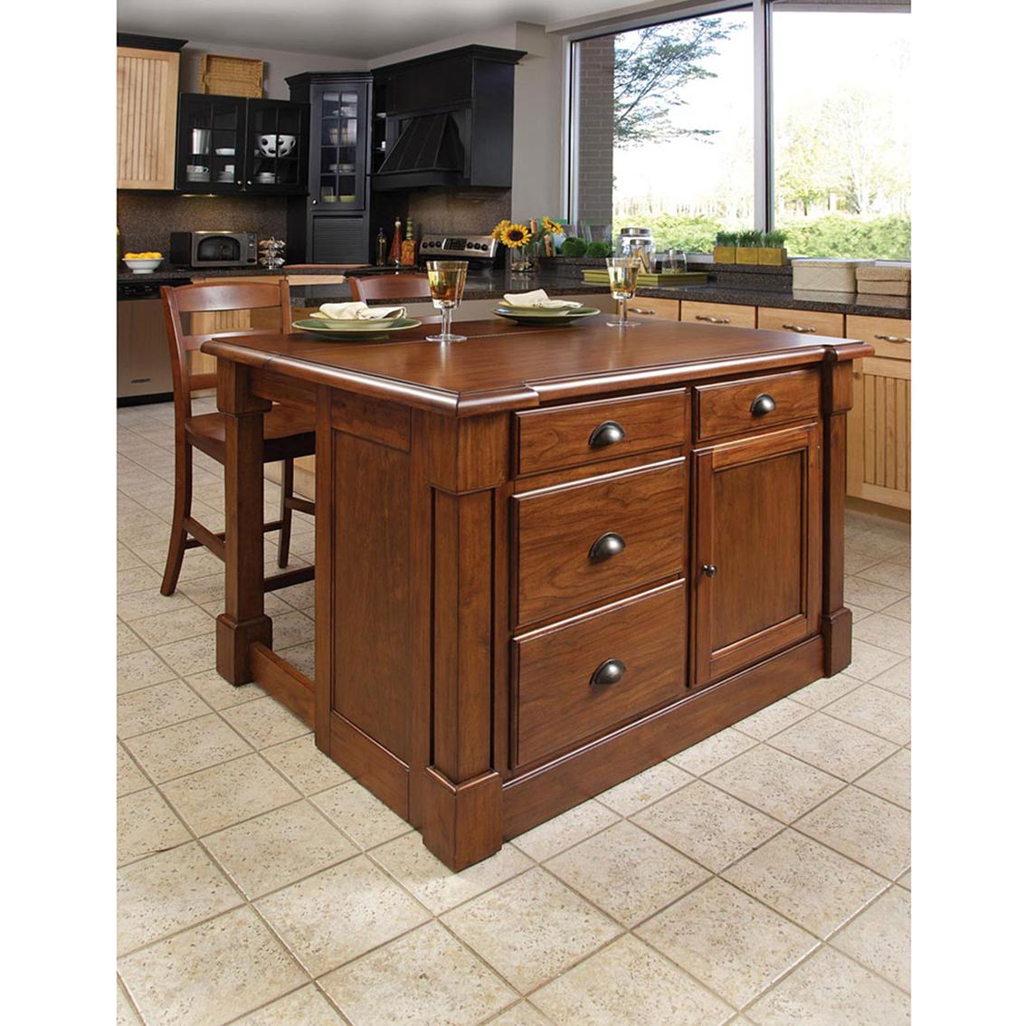Home Styles Aspen Kitchen Island 3 Pc Set Kitchen Carts