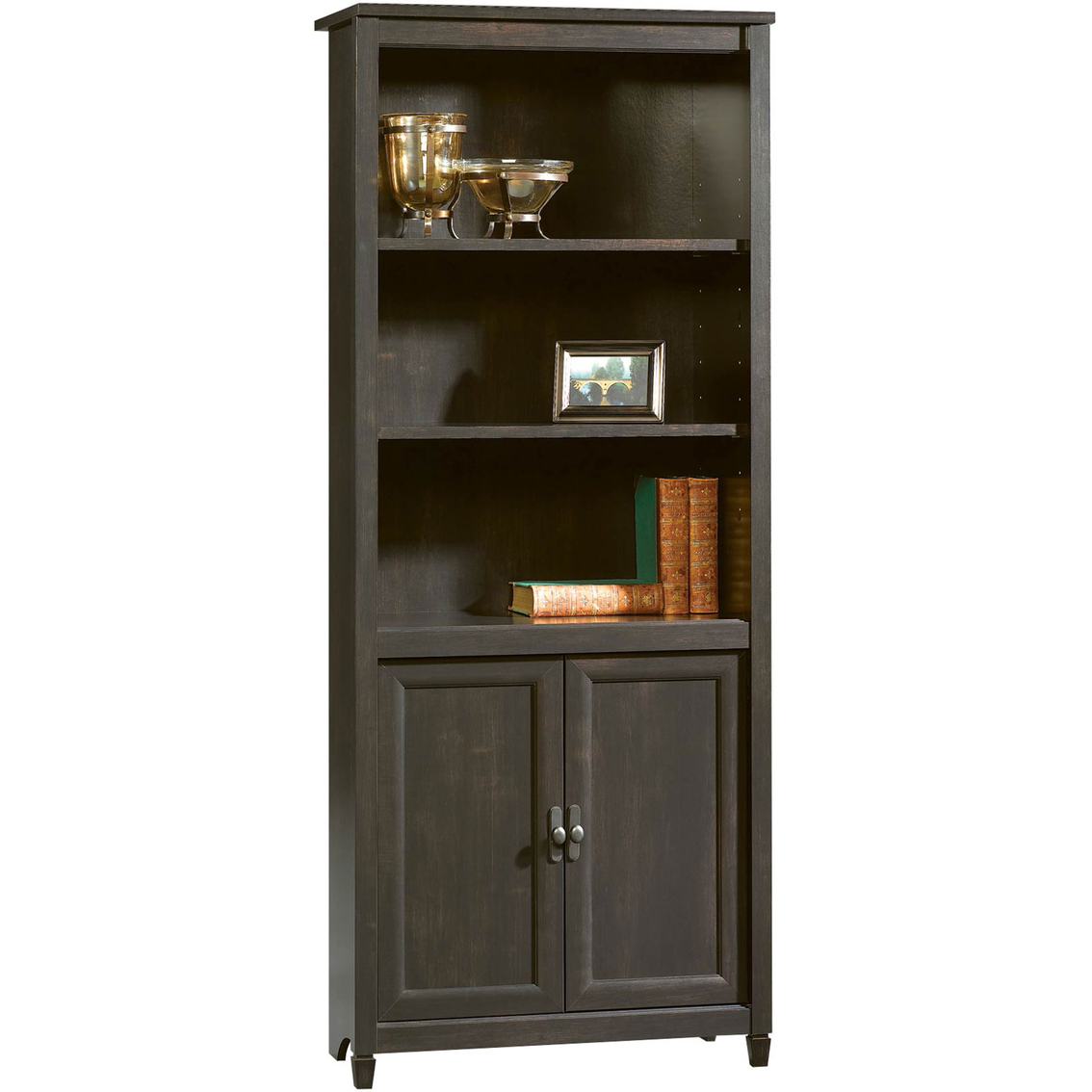 Sauder Edge Water Library With Doors Bookcases