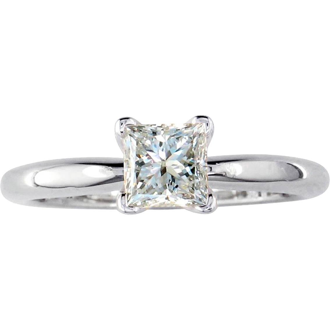 14k white gold 1 ct princess cut diamond solitaire ring. Black Bedroom Furniture Sets. Home Design Ideas