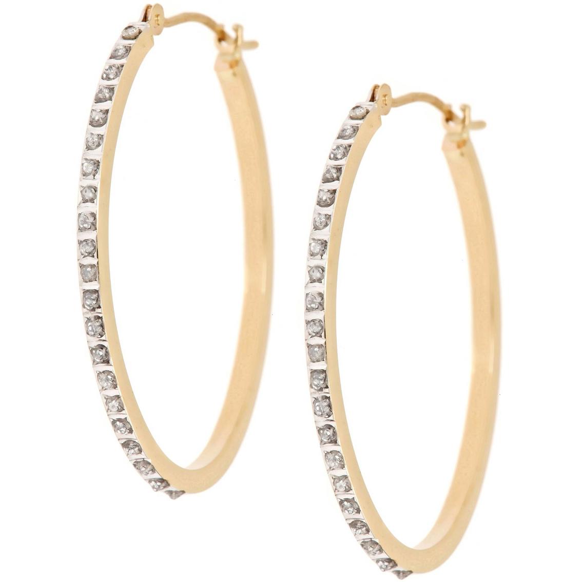14k yellow gold diamond fascination oval hoop earrings diamond hoop