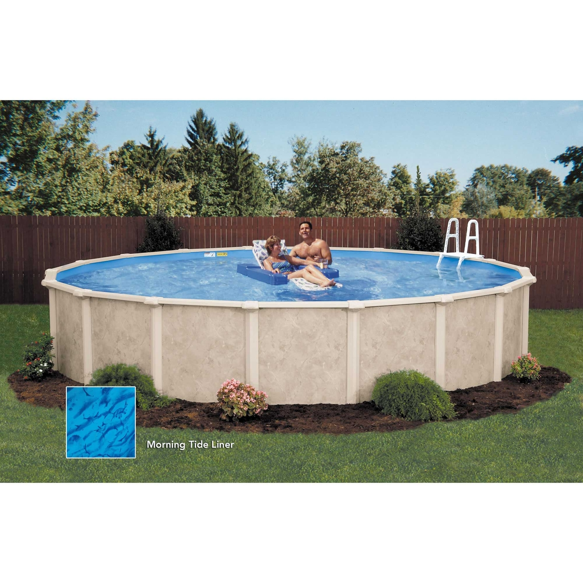 Lomart sandstone round above ground pool package pools for Above ground pool packages cheap