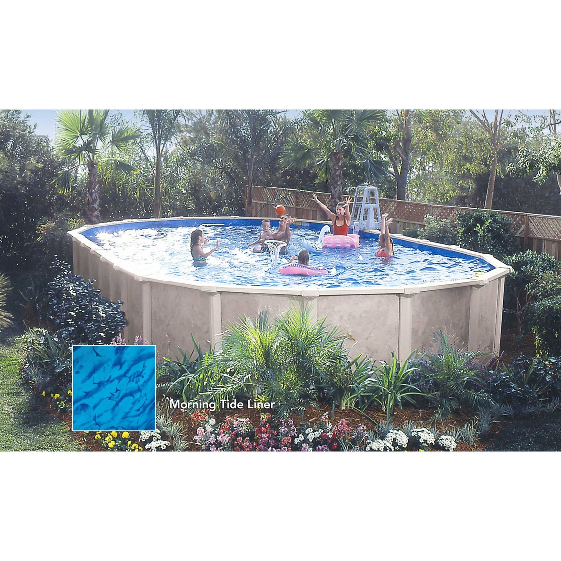 Lomart sandstone oval above ground pool package pools for Above ground pool packages cheap