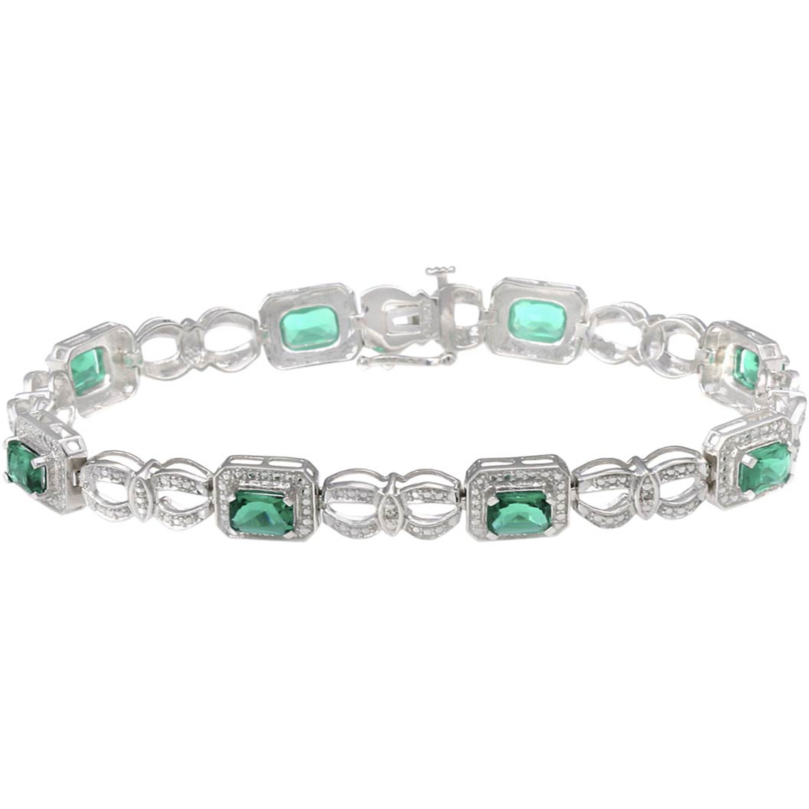 Sterling Silver Simulated Emerald Bracelet With Diamond Accents