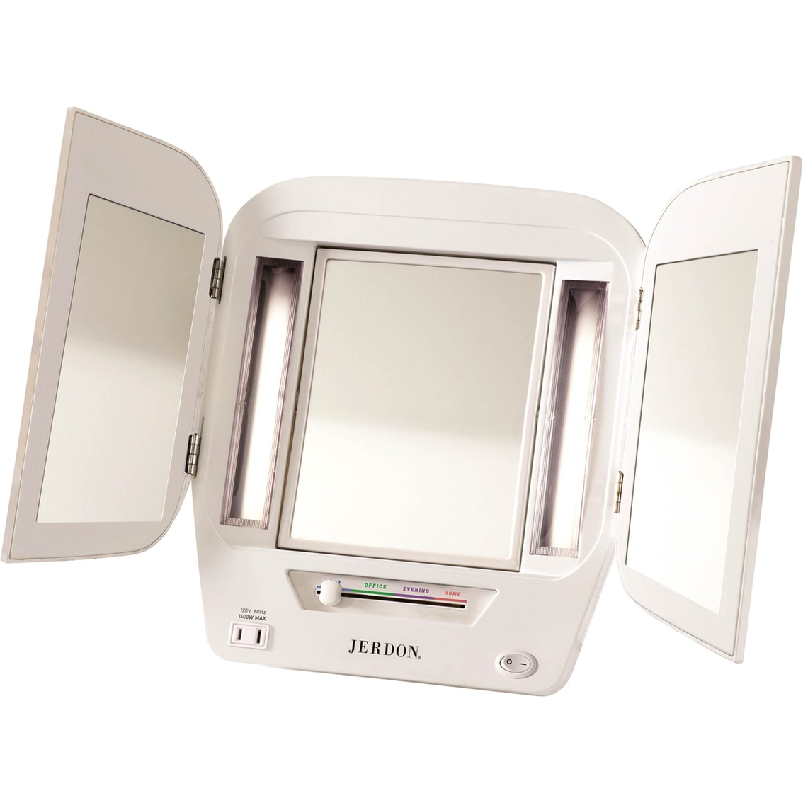 Jerdon Tabletop Tri Fold Two Sided Lighted Makeup Mirror