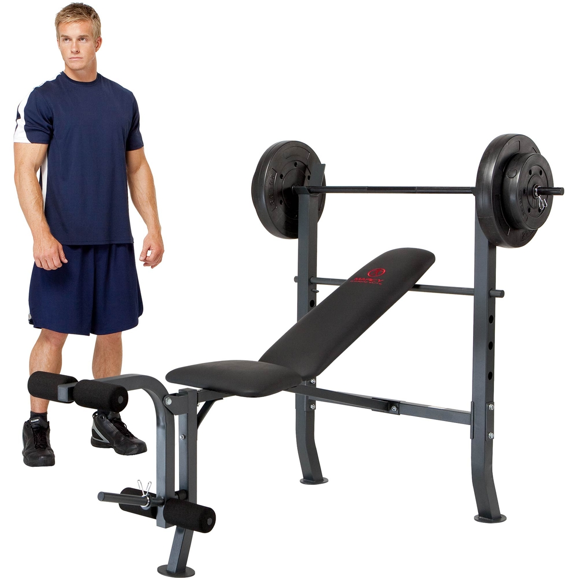 Marcy Olympic Bench With 80 Lb Weight Set Strength Training Sports Outdoors Shop The