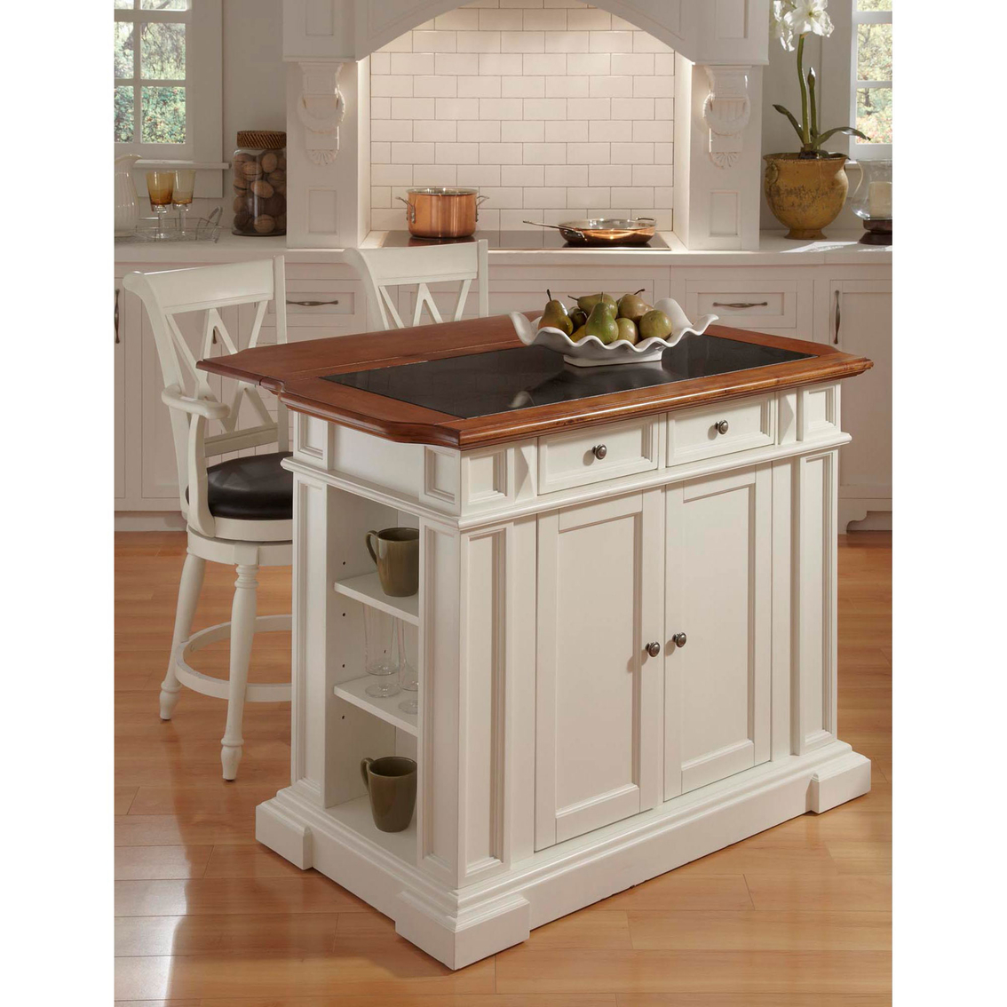 Home Styles Deluxe Traditions Island And 2 Bar Stools