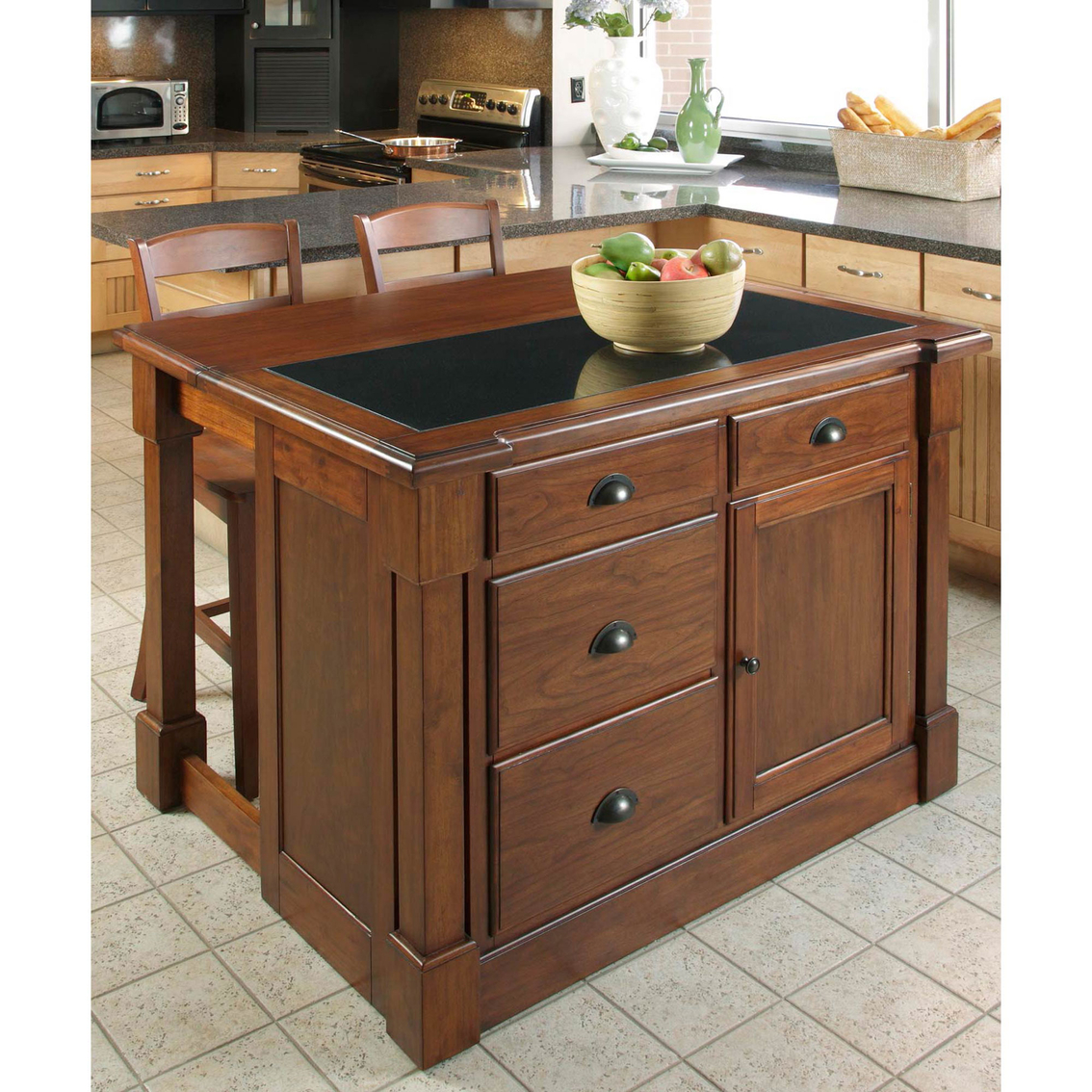 Kitchen island with granite insert - Home Styles Aspen Kitchen Island With Granite Insert And Two Bar Stools
