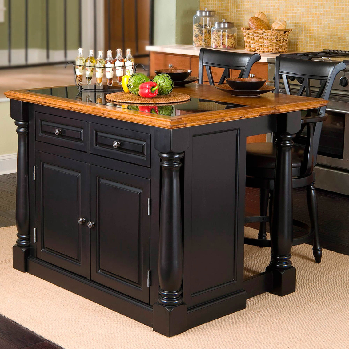 Kitchen island with granite insert - Home Styles Monarch Kitchen Island And Two Stools With Black Granite Insert