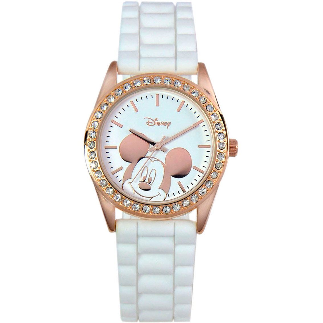Disney Mickey Mouse Rose Gold Bling Watch Leather Band