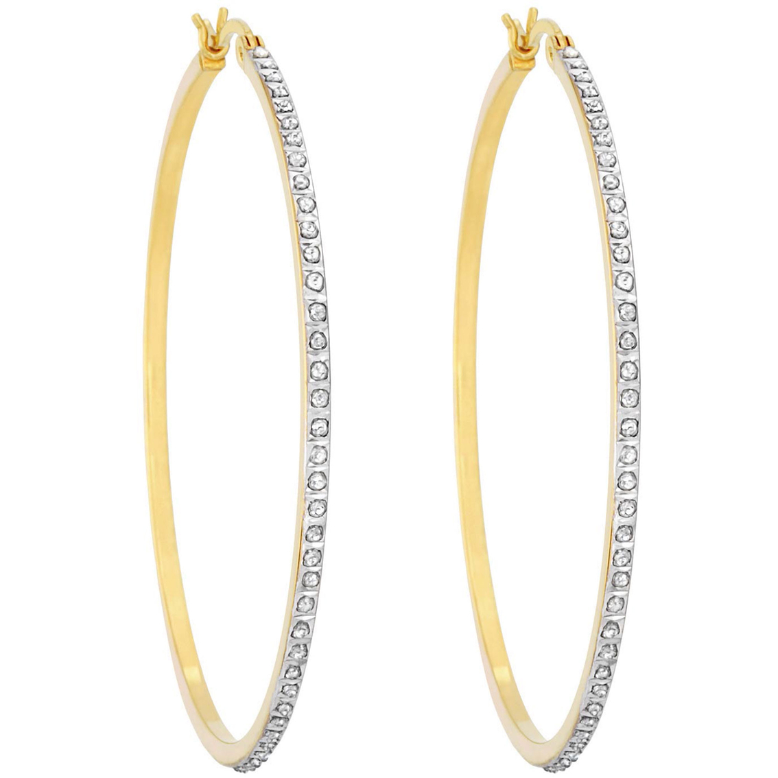 accent products earrings hoop half diamond post