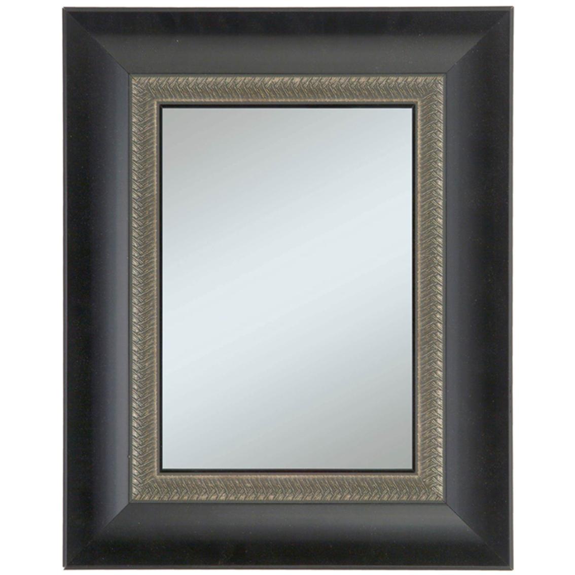 alpine art mirror black with decorative leaf edge framed wall mirror mirrors home. Black Bedroom Furniture Sets. Home Design Ideas