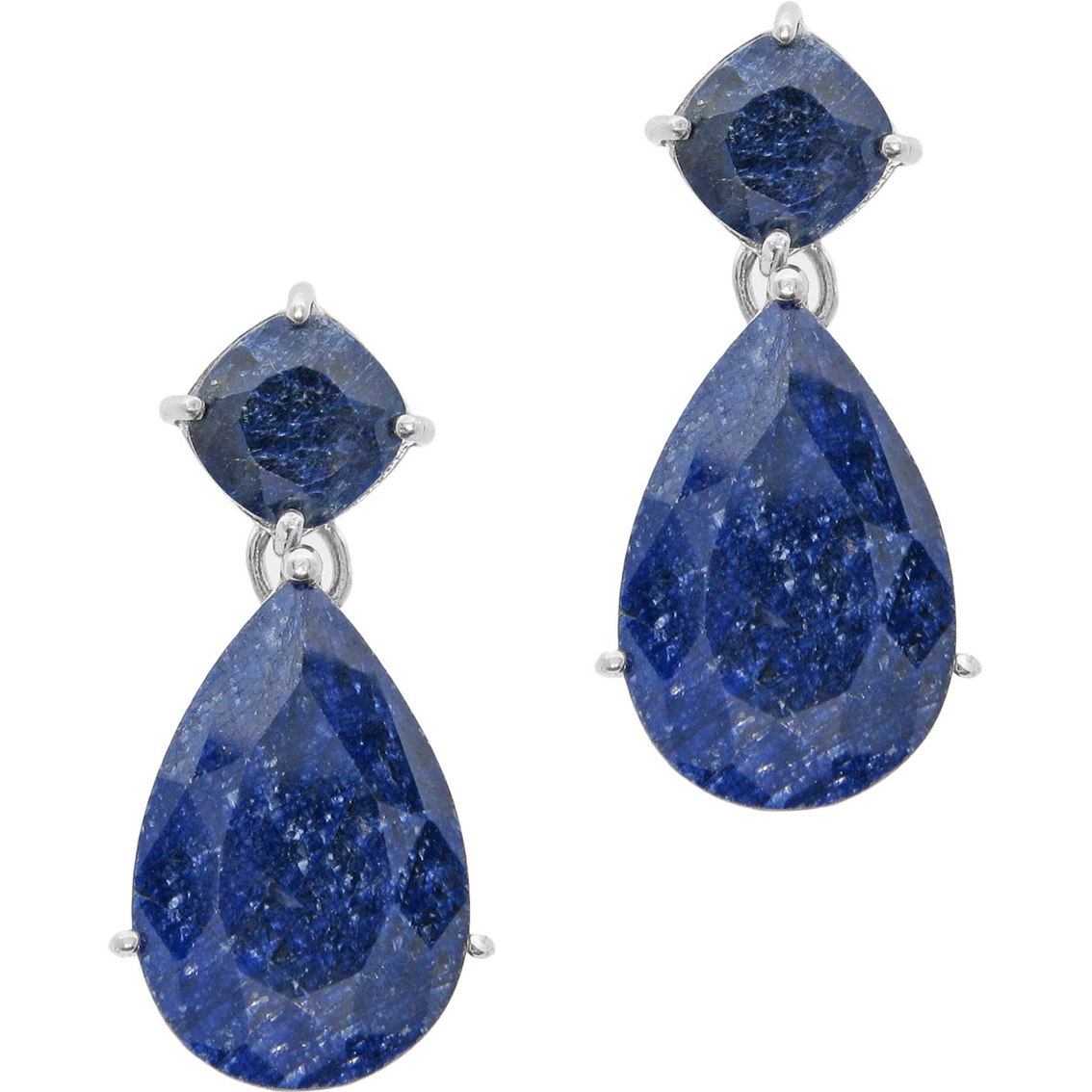Sterling Silver Rough-cut Sapphire Earrings | Gemstone ...Unpolished Sapphire Necklace