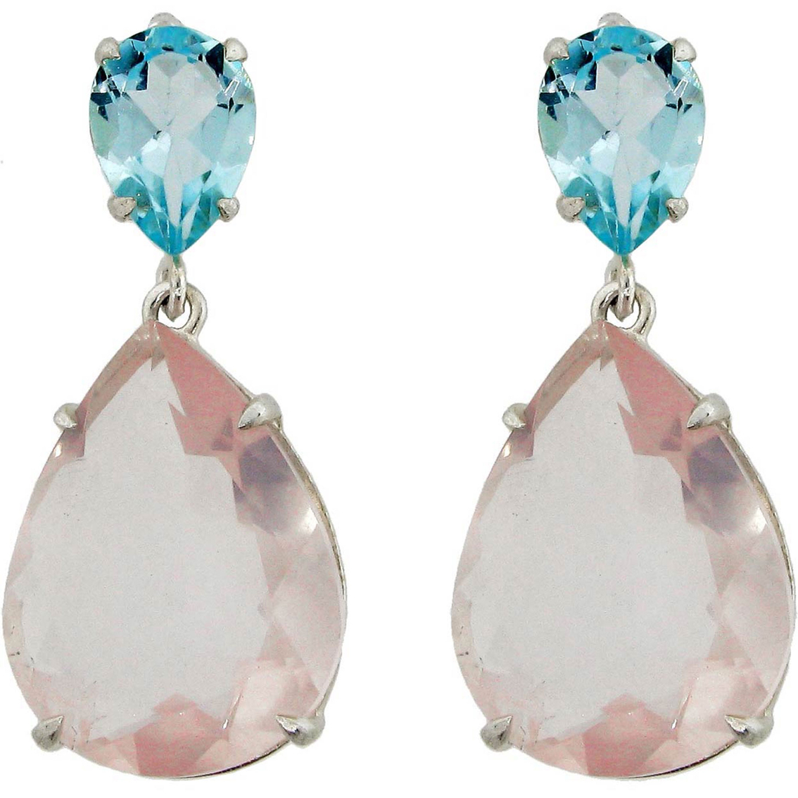 Sterling Silver Sky Blue Topaz And Pink Amethyst Drop Earrings