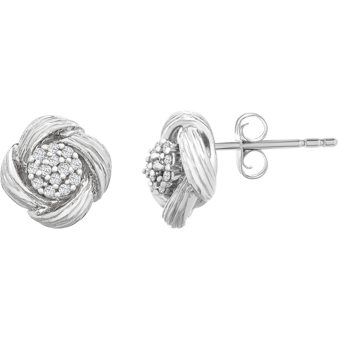 Sterling Silver 1 10 Ctw Diamond Textured Earrings