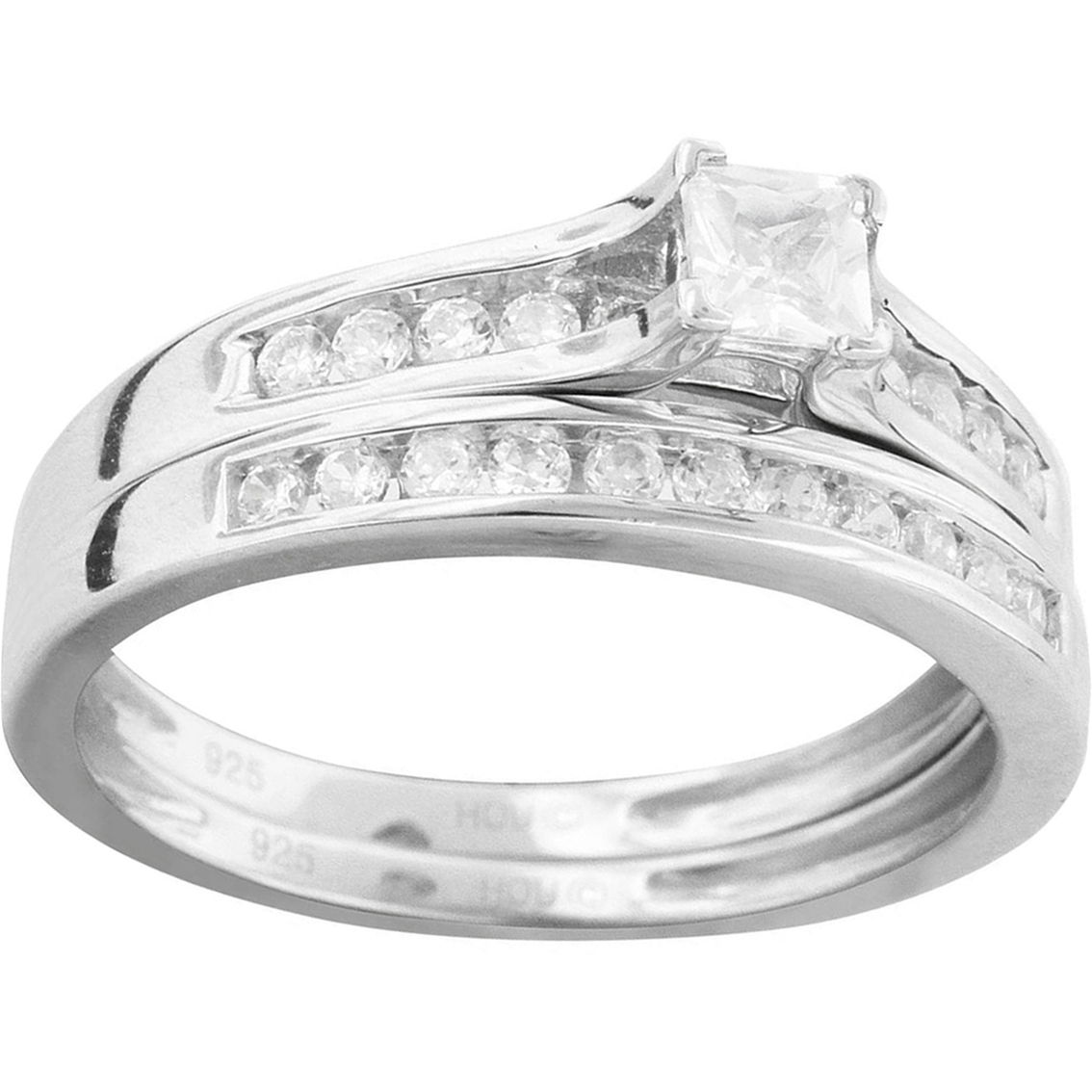 14k White Gold 1 2 Ctw Princess Cut And Round Diamond Bridal Set