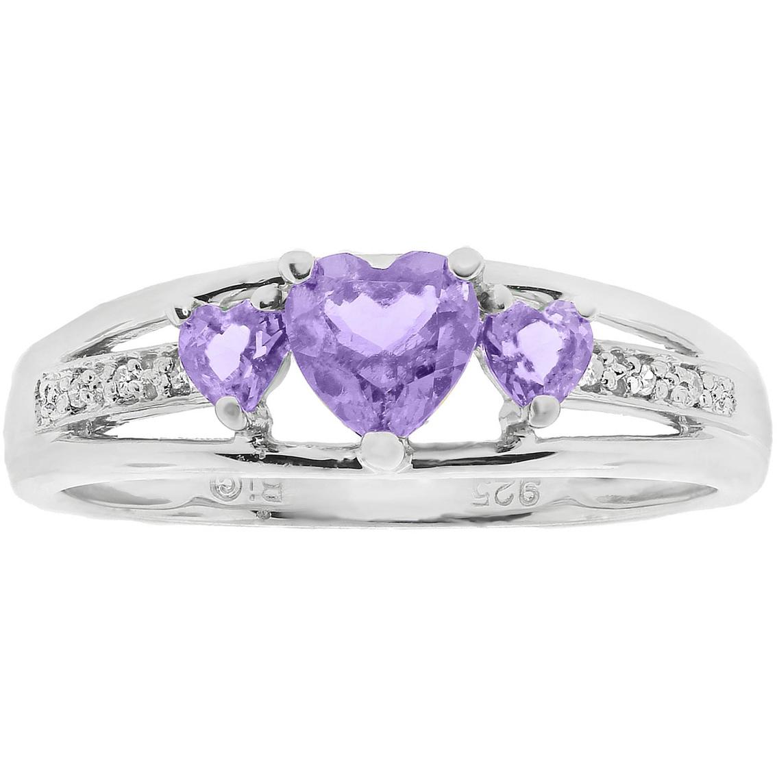 Sterling Silveramethyst Heart Birthstone Ring With Diamond