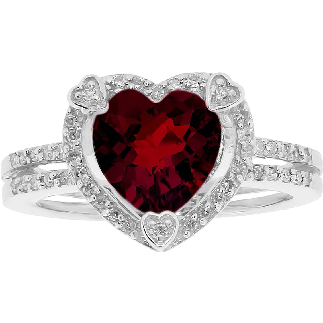 Angara Heart Shaped Garnet Halo Ring with Diamond Accents qJmJK