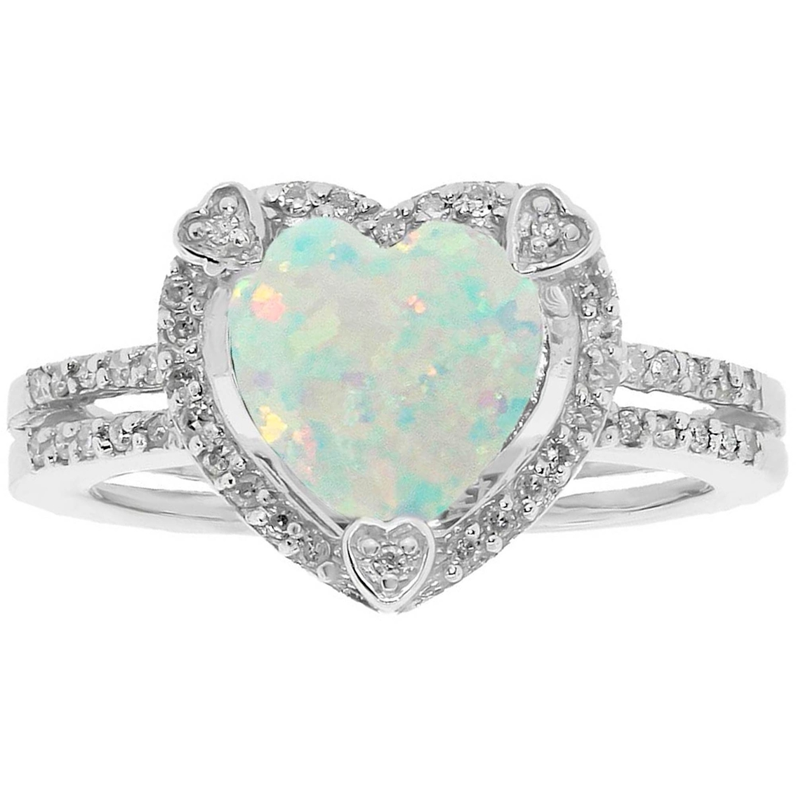 sterling silver created opal birthstone ring with diamond