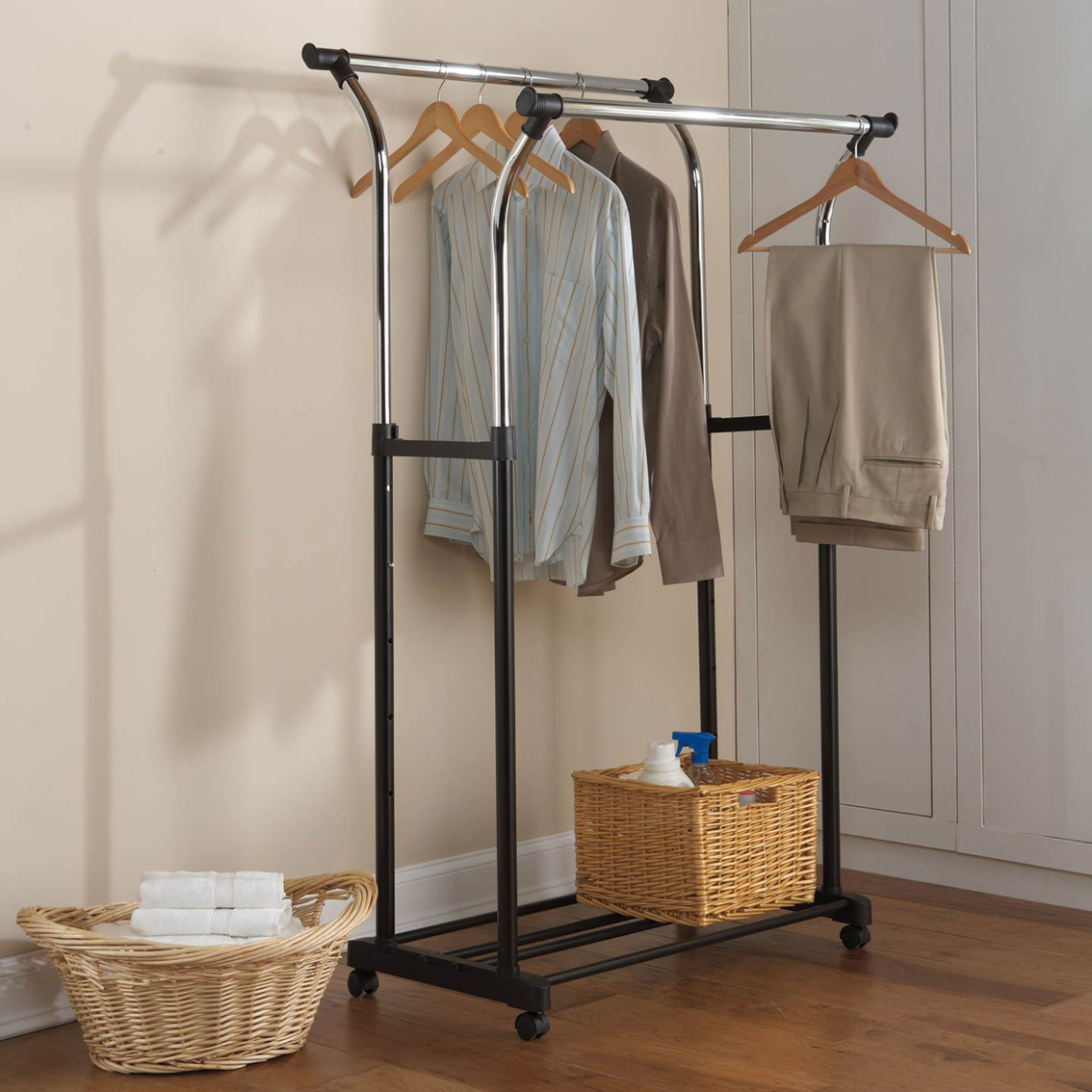 Closet Desk Simply Perfect Adjustable Rolling Double Garment Rack