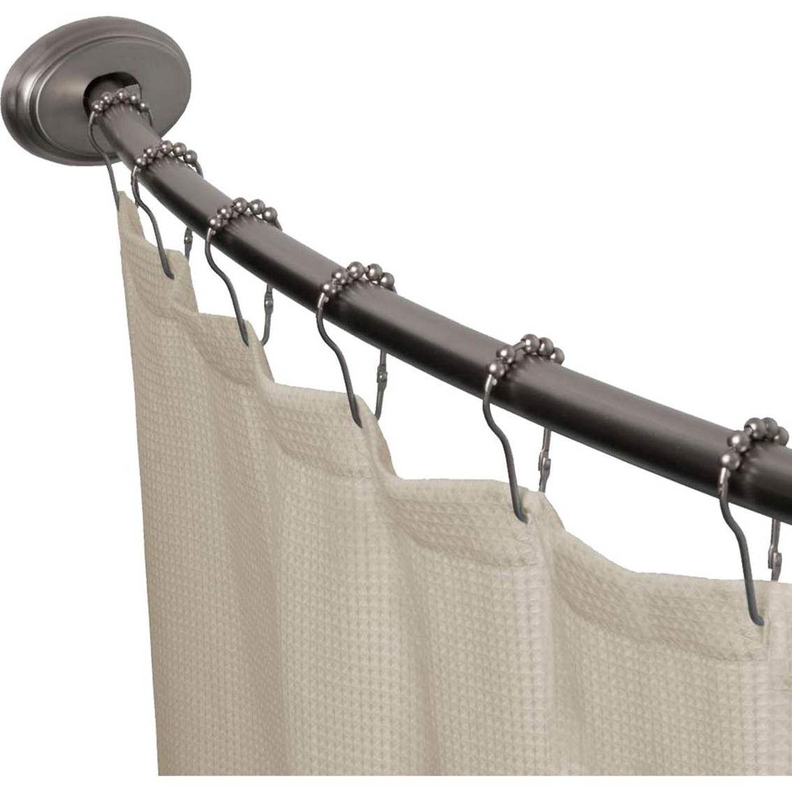 Maytex Smart Rod Curved Shower Curtain Rod Shower Curtains