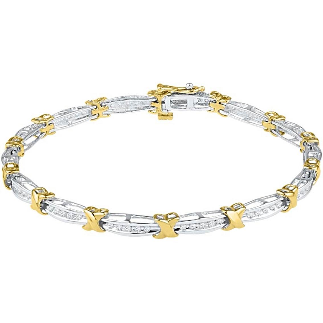 10k Two Tone Gold 1 2 Ctw Diamond X Bracelet