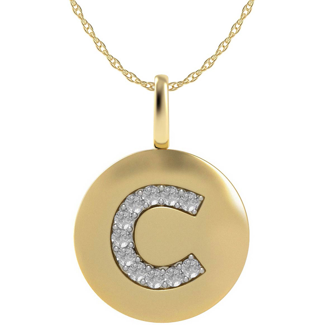 14k yellow gold letter c disk pendant with diamond accents for Letter c gold pendant