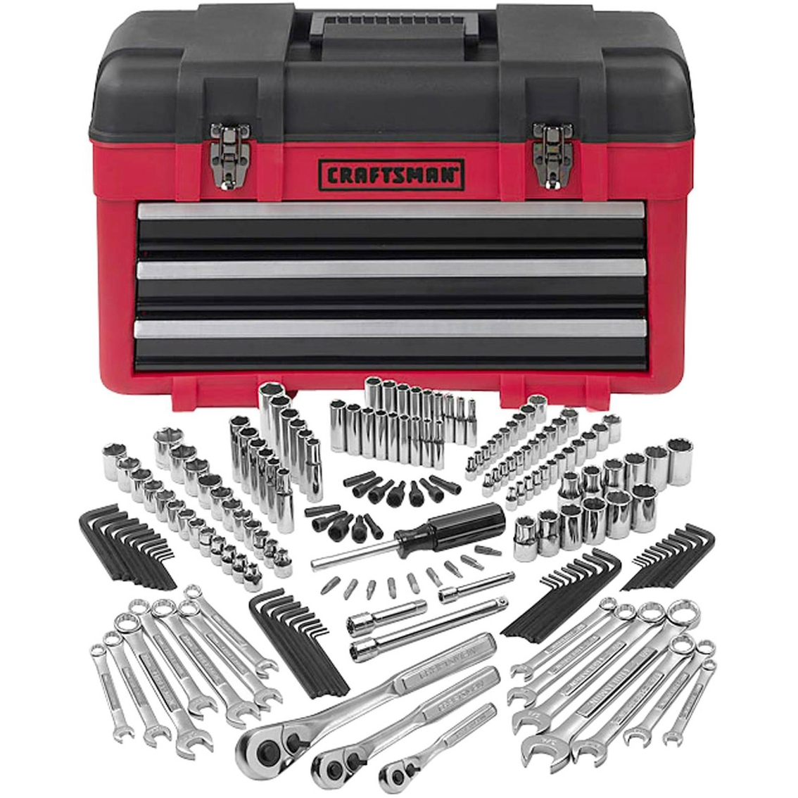 Craftsman 182 Pc. Mechanics Tool Set With 3-drawer Chest | Mixed Sets