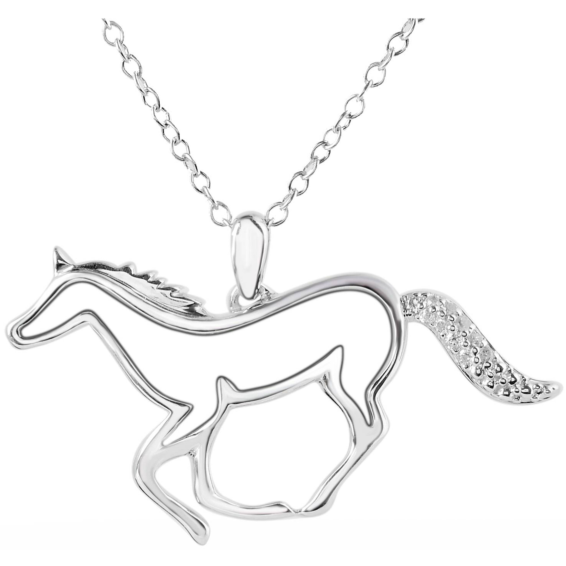 Aspca sterling silver horse pendant with diamond accents diamond 6430 aloadofball Image collections