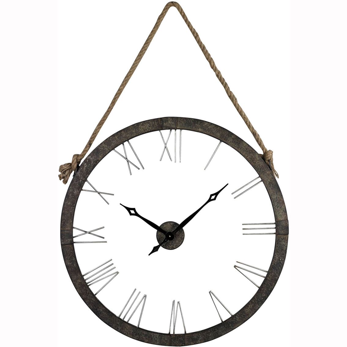 Elk lighting rustic iron wall clock with rope hanger clocks 4953 amipublicfo Image collections