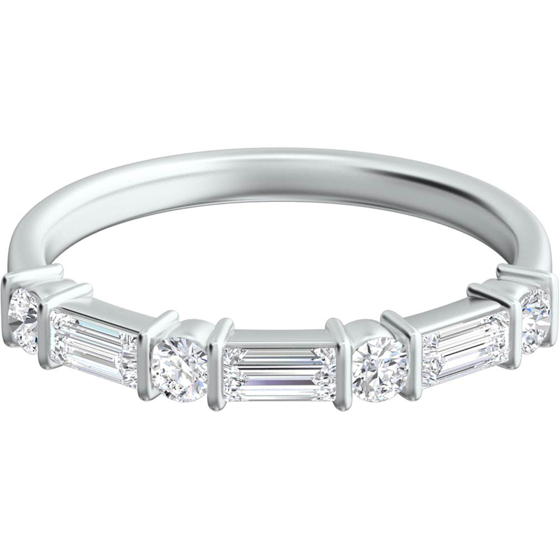 Platinum 1/2 Ctw Baguette And Round Diamond Wedding Band | Wedding ...