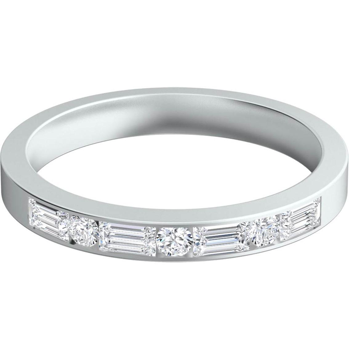 Sasha Primak Platinum 1/2 Ctw Baguette And Round Diamond Wedding ...