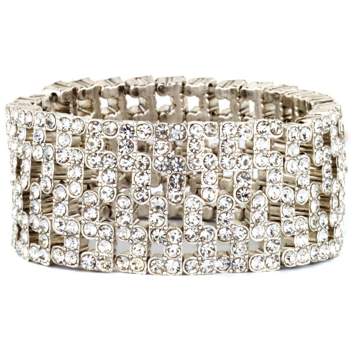 Anne Klein Silvertone Crystal Wide Stretch Bracelet