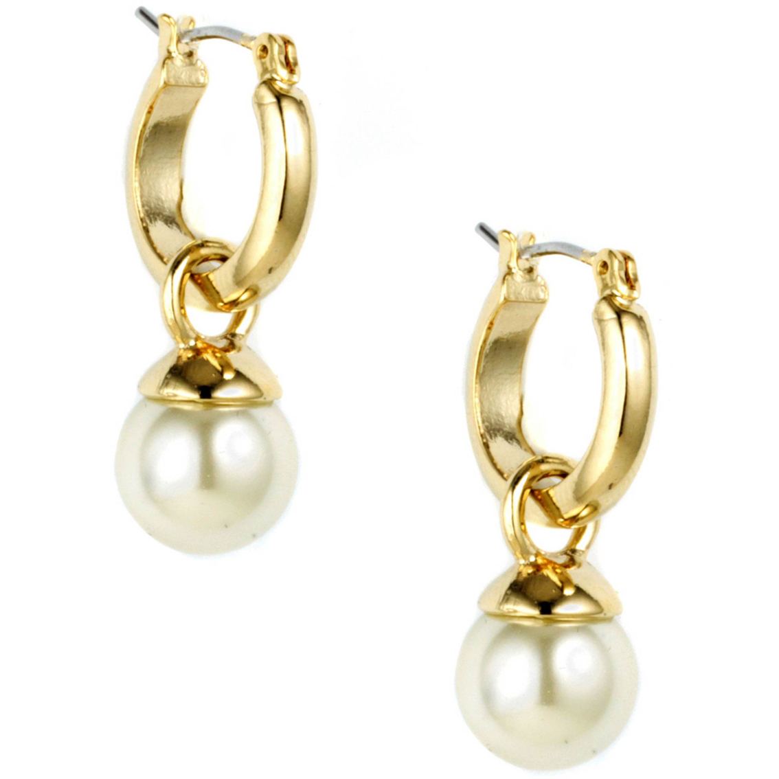 Anne Klein Goldtone Small Click It Drop Off Hoop Earrings ...