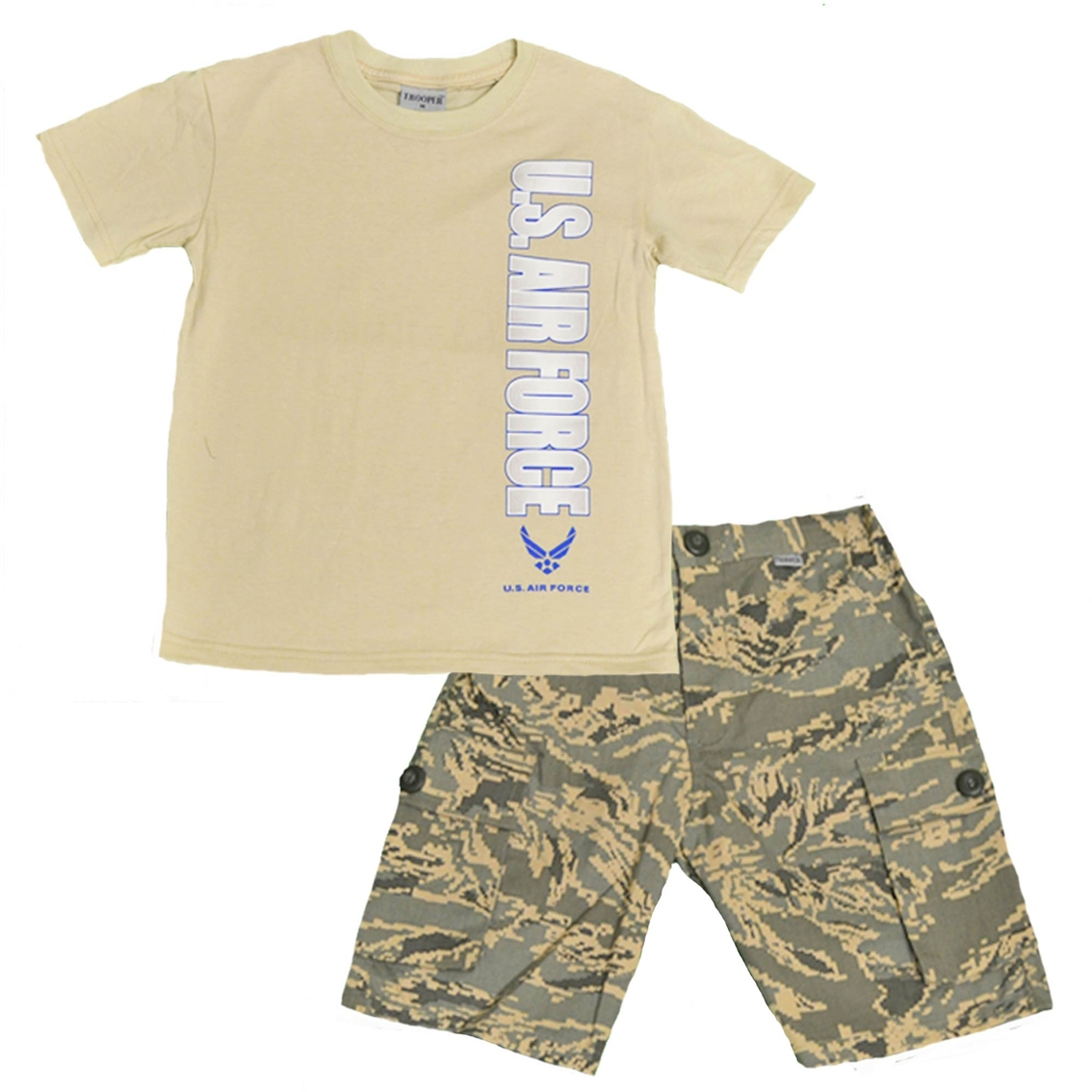 a36b3dd3a7f Trooper Clothing Little Boys Boys 2 Pc. Air Force Shirt and Camouflage  Shorts Set