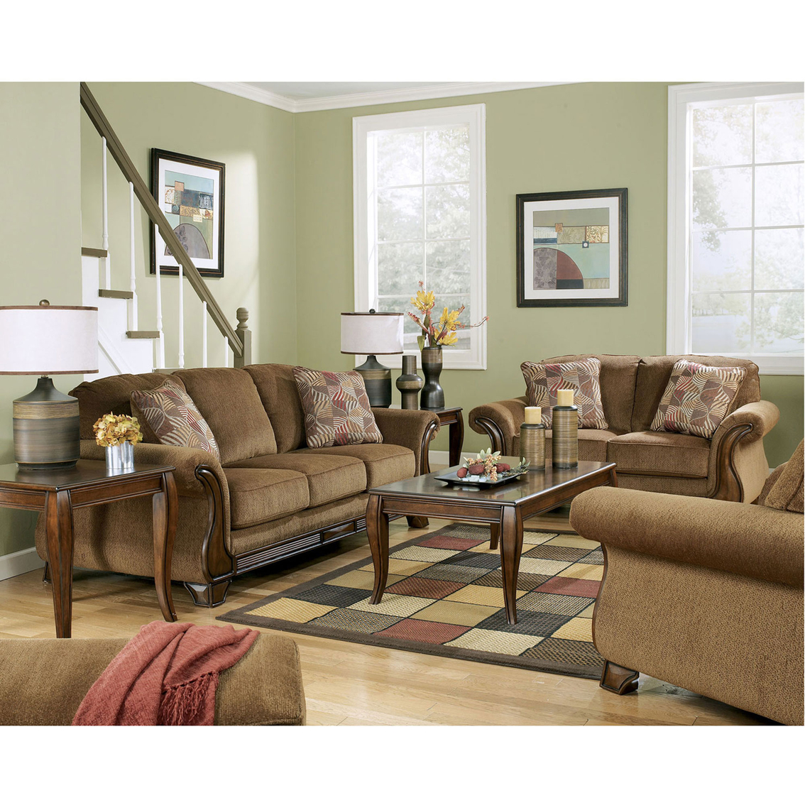Signature Design By Ashley Montgomery Mocha Sofa And Loveseat