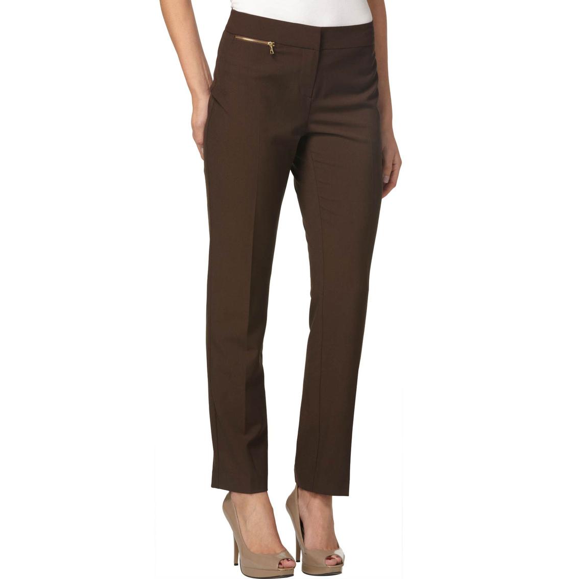 Ellen Tracy Zip Accent Slim Ankle Pants Pants Apparel