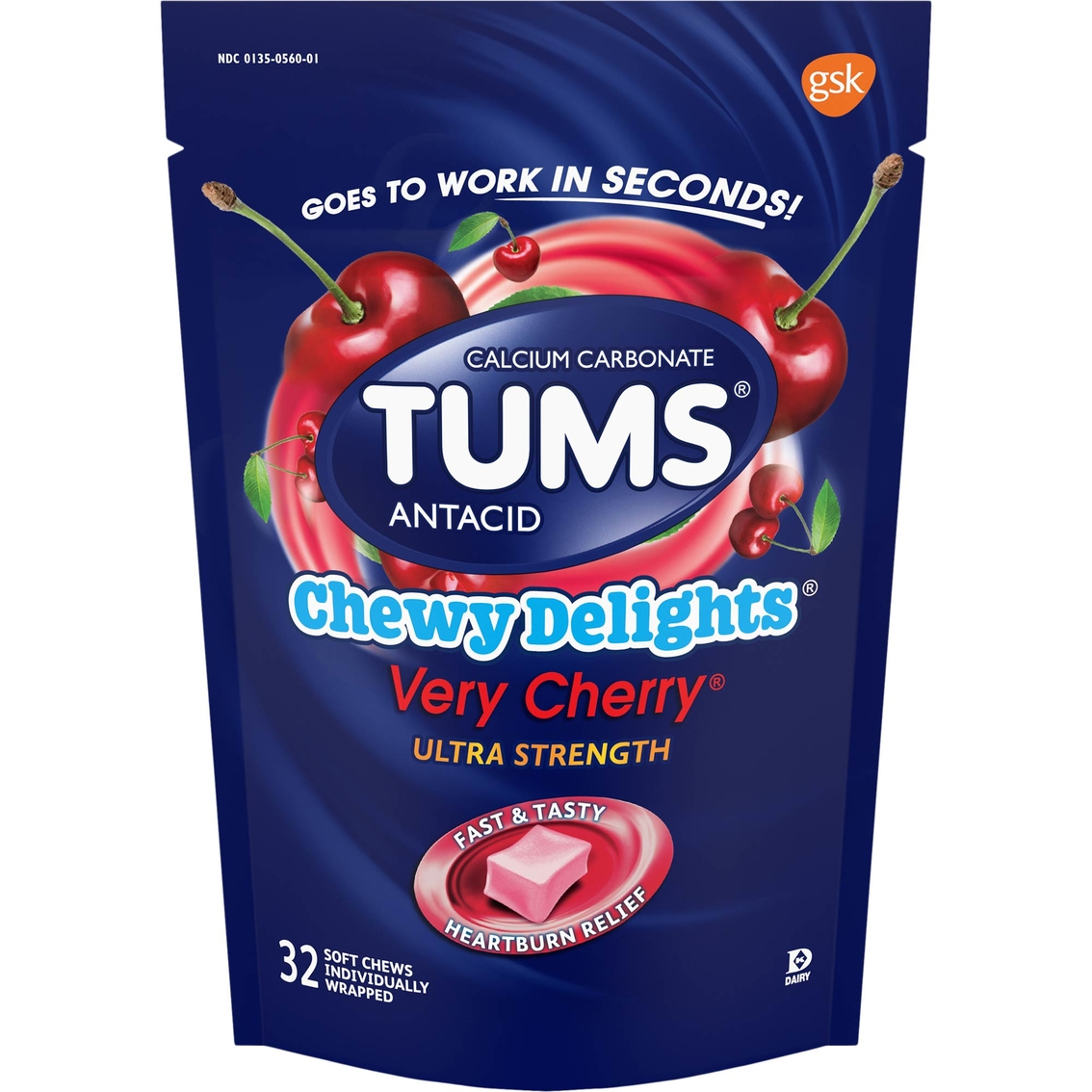 tums chewy delights soft chews very cherry, 32 ct.   digestive