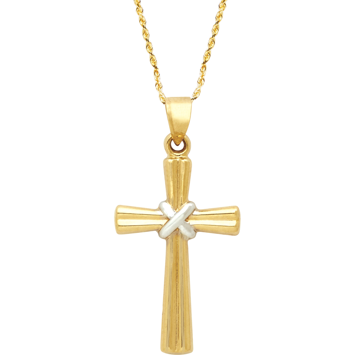 14k yellow gold two toned ribbed cross pendant with solid