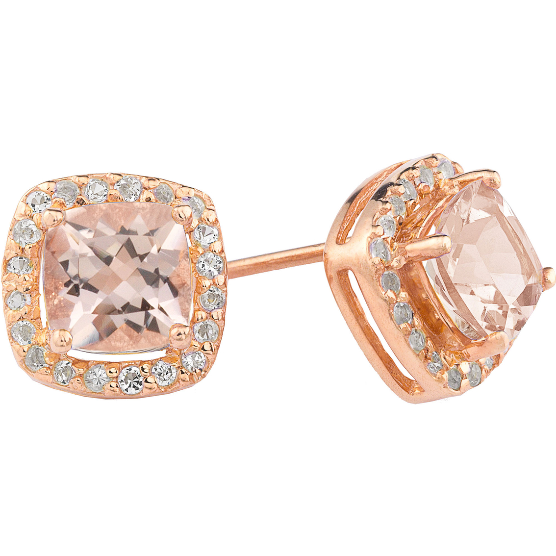 14k Rose Gold Over Sterling Silver Morganite Cushion Earrings