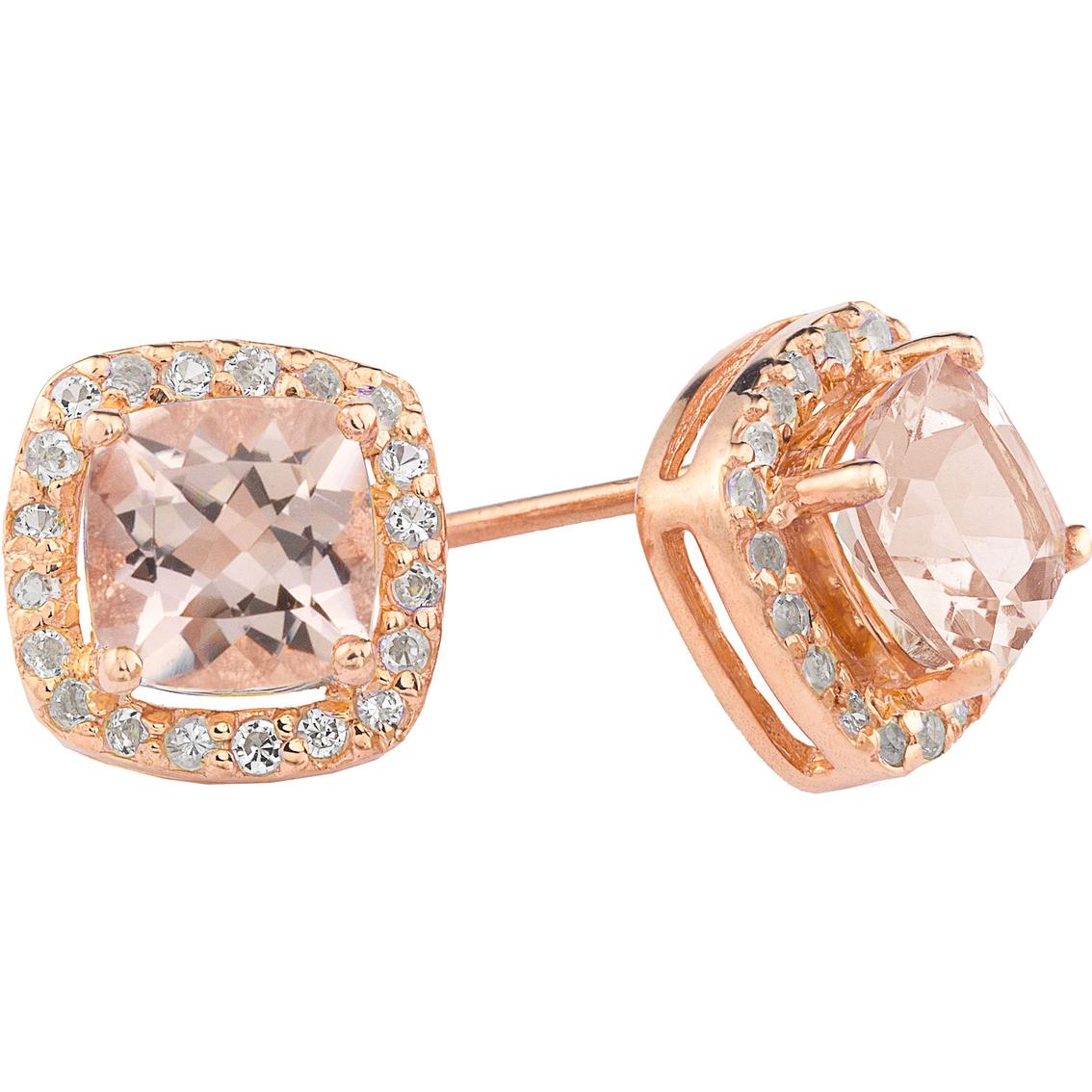 14k Rose Gold Over Sterling Silver Morganite Cushion Earrings