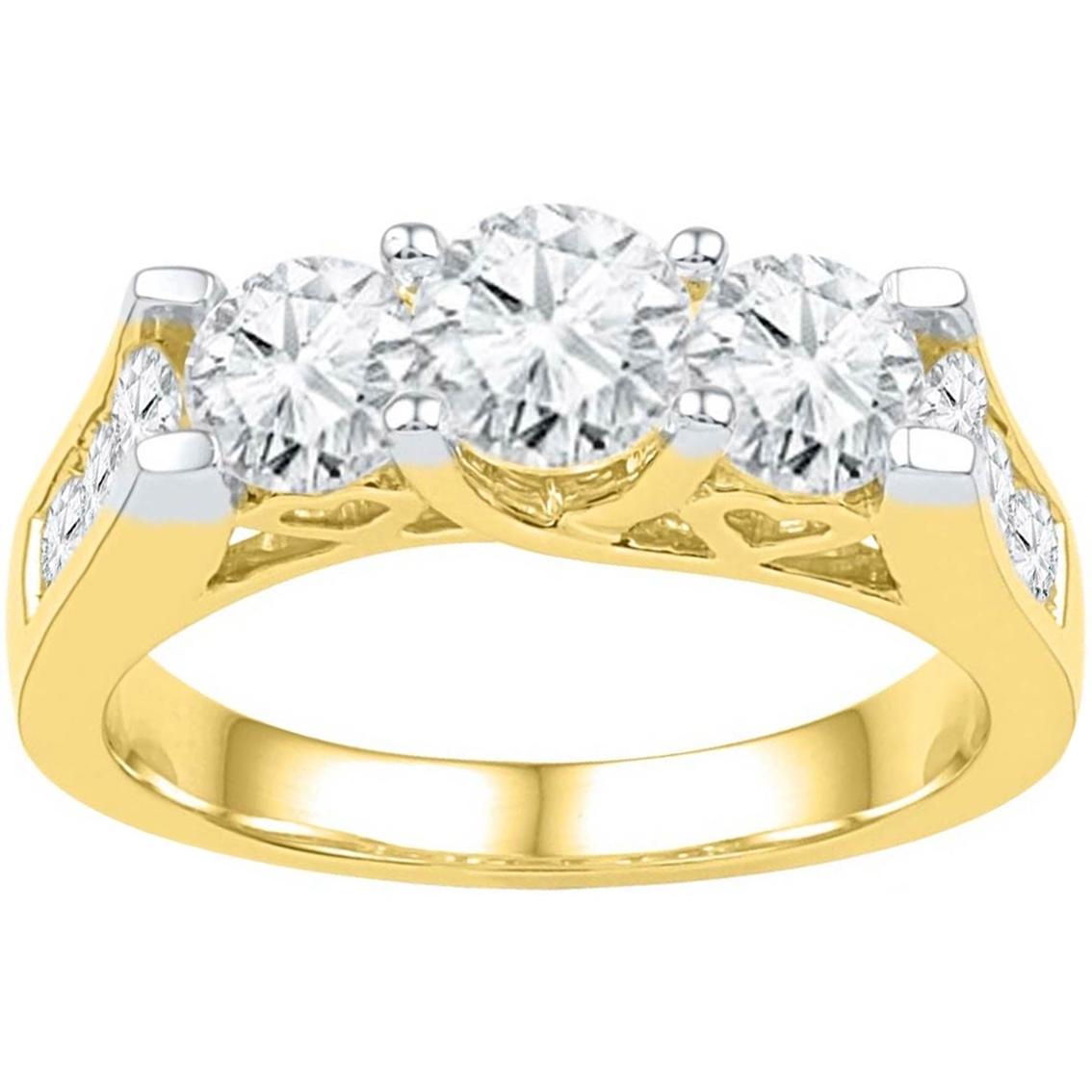 14k 2 Ctw 3 Stone Round Diamond Engagement Ring, Yellow Gold