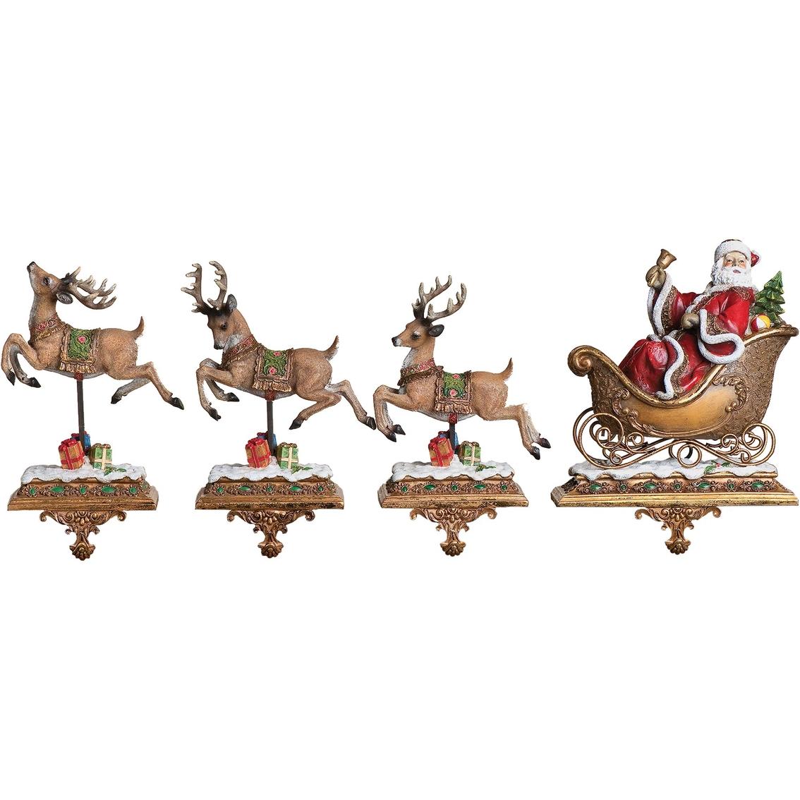 roman 2 pc santa with reindeer stocking holder set do. Black Bedroom Furniture Sets. Home Design Ideas