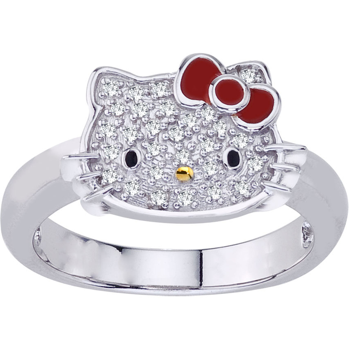 599ce1175 Hello Kitty Sterling Silver 1/10 Ctw Diamond Ring | Diamond Fashion ...